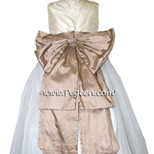 Flower Girl Dress Style 394 in Ivory and Antigua Taupe