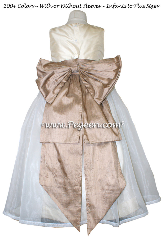Buttercreme and Antigua Taupe Silk Flower Girl Dresses Style 394