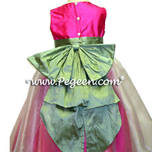 SHOCKING PINK AND SAGE FLOWER GIRL DRESSES