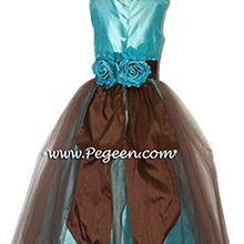 Tiffany blue and chcolate brown tulle flower girl dresses