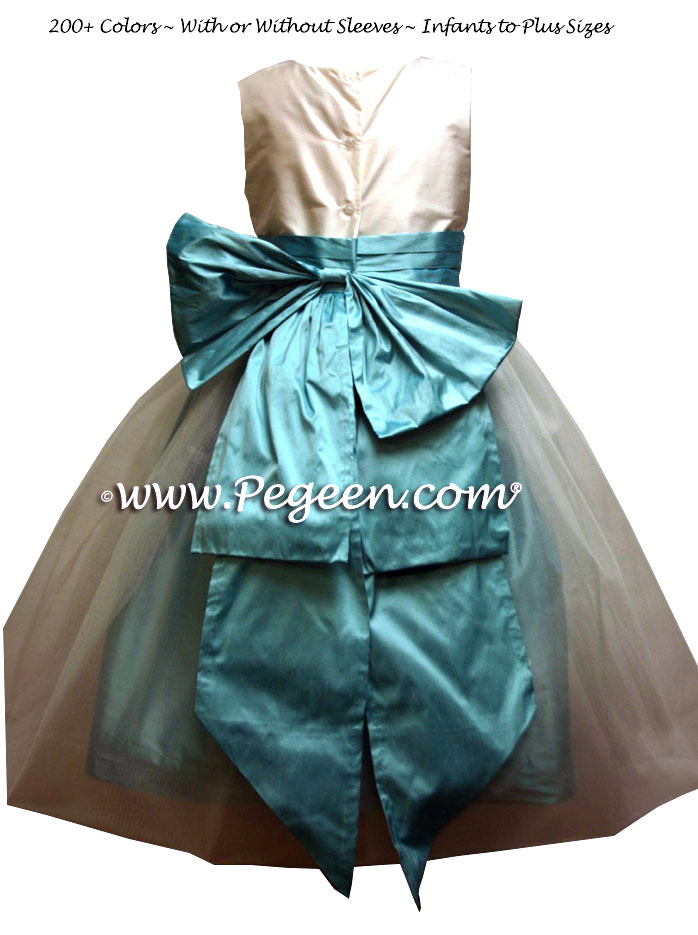 Tiffany Blue and New Ivory Custom Flower Girl Dresses Style 394