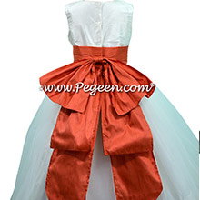 New ivory and Tomato Flower Girl Dress style 394