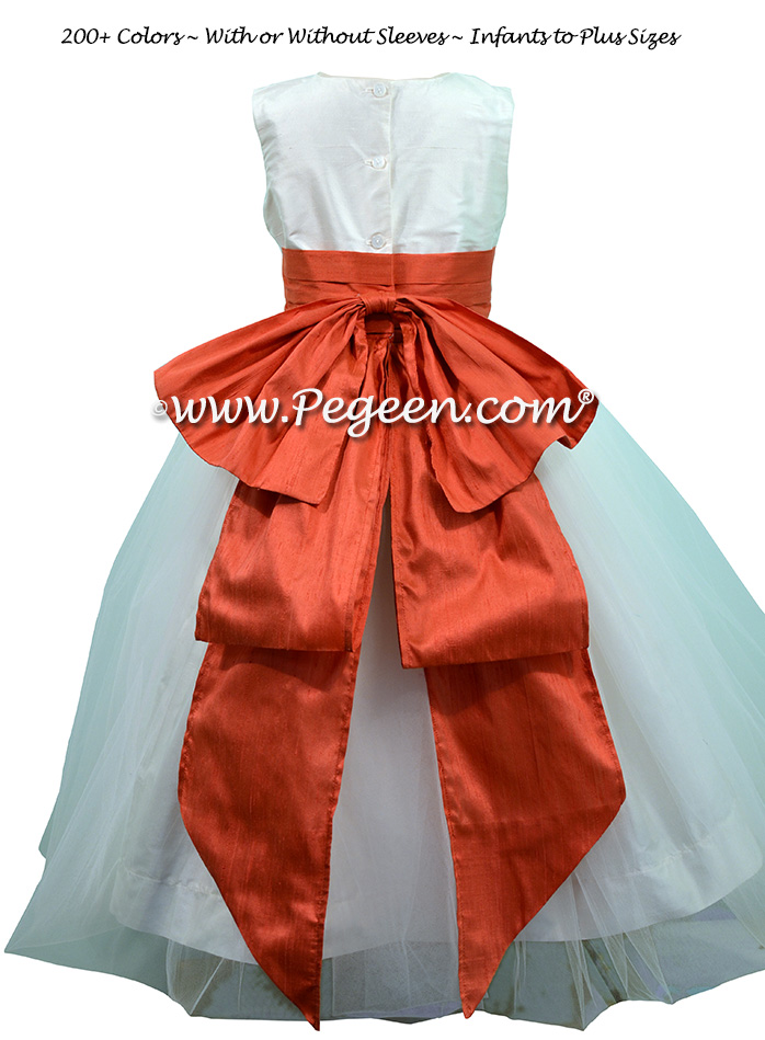 New ivory and Tomato Red Custom Silk Flower Girl Dresses - Style 394