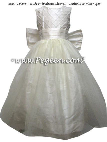Antique White Flower Girl Dresses - White Silk Trellis FLOWER GIRL DRESSES