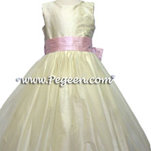 buttercreme and pink tulle flower girl dresses