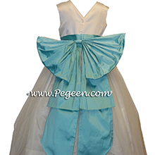 TIFFANY BLUE AND IVORY TULLE FLOWER GIRL DRESSES