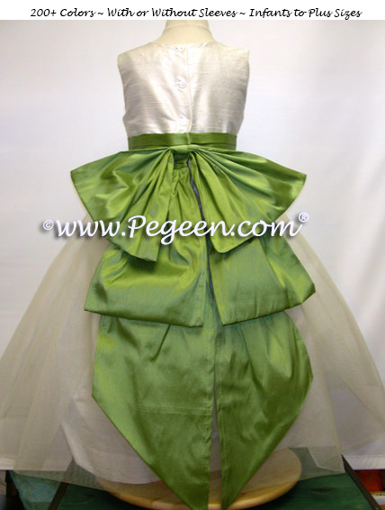 Vine green and new ivory silk flower girl dress