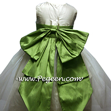 vine green and ivory tulle flower girl dresses
