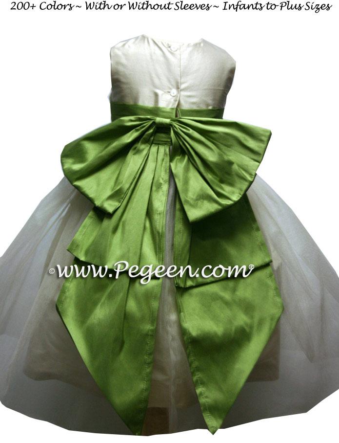 New ivory and Vine Green Custom Silk Flower Girl Dresses - Style 394