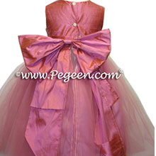 watermelon pink flower girl dress
