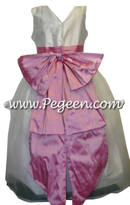 Rose Pink and Antique White Organza Flower Girl Dresses