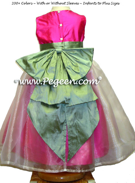 Hot Shock Pink and Celadon Flower Girl Dresses Style 394