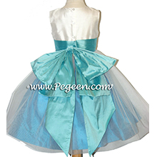 TIFFANY BLUE AND TURQUOISE SILK FLOWER GIRL DRESSES