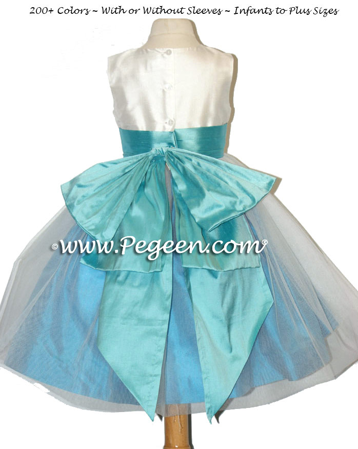 Tiffany Blue and Turquoise Custom Flower Girl Dresses Style 394