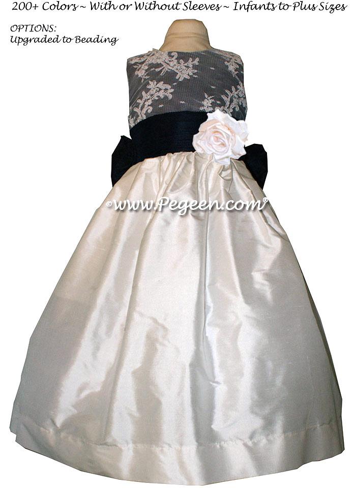 Navy Blue and White custom silk flower girl dress