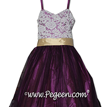 ALONCON LACE AND PURPLE tulle flower girl dresses