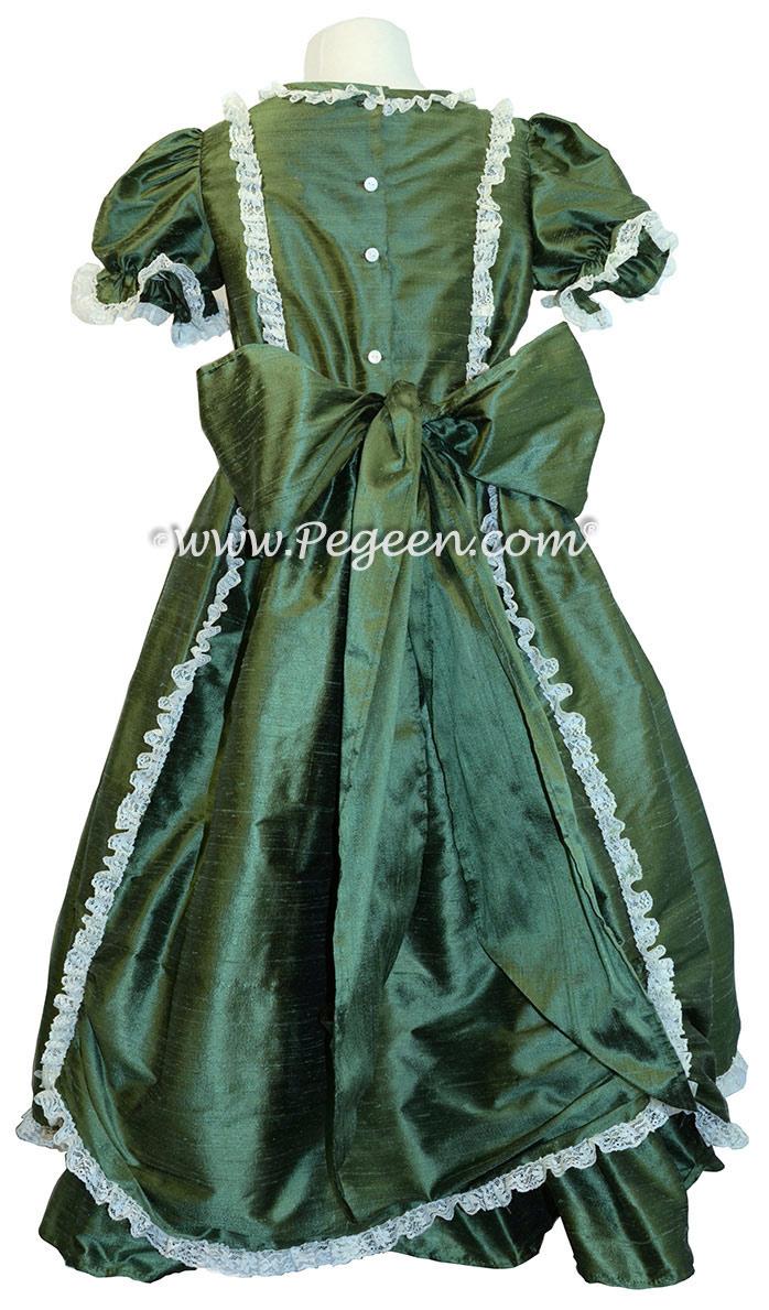 Victorian Style Silk Dress for Nutcracker Party Scene in Basil Green