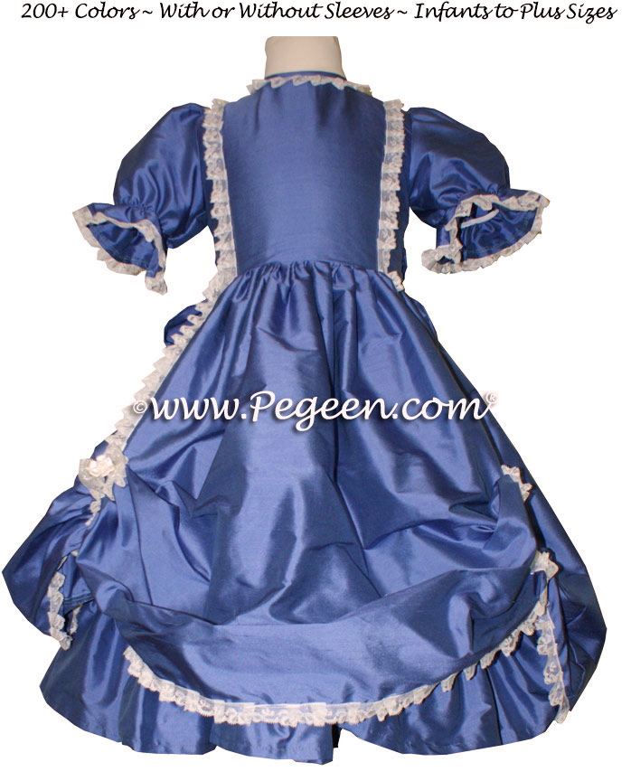 Blueberry Victorian Style silk flower girl dresses