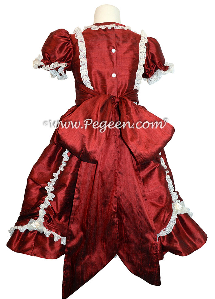 Claret silk victorian style CUSTOM FLOWER GIRL DRESSES