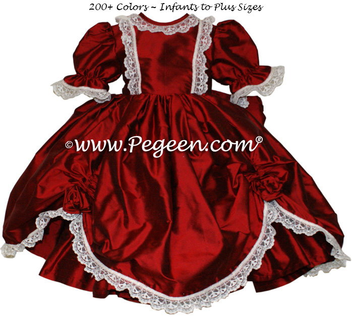 Victorian Style Silk Dress for Nutcracker Party Scene and Clara Costume in Claret Red