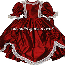 CLARET RED SILK DRESS FOR Flower Girl Style 397