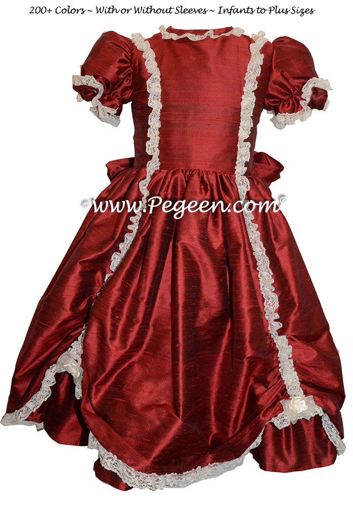 Claret silk Victorian style Nutcracker Party Scene Costume | Pegeen