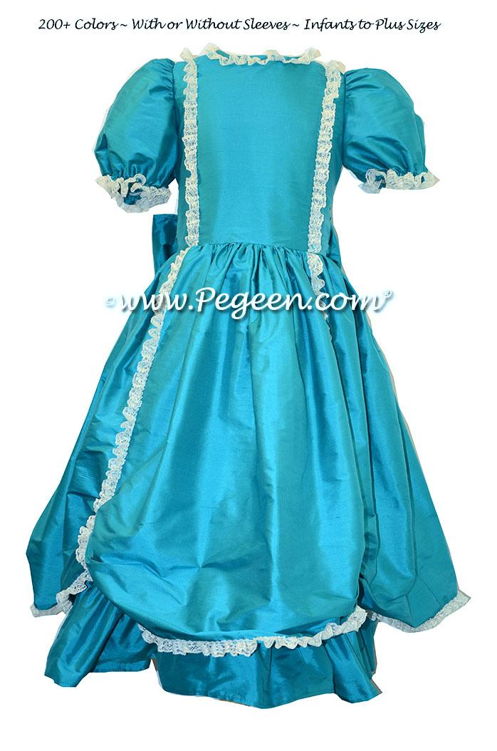 Oceanic turquoise silk Victorian style custom flower girl dresses
