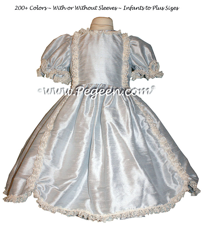 Platinum gray silk Victorian style Nutcracker Dress for Nutcracker Performance