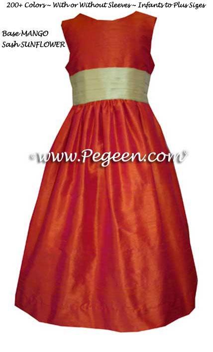 MARTHA STEWART FLOWER GIRL DRESSES IN MANGO and SUNFLOWER SILK