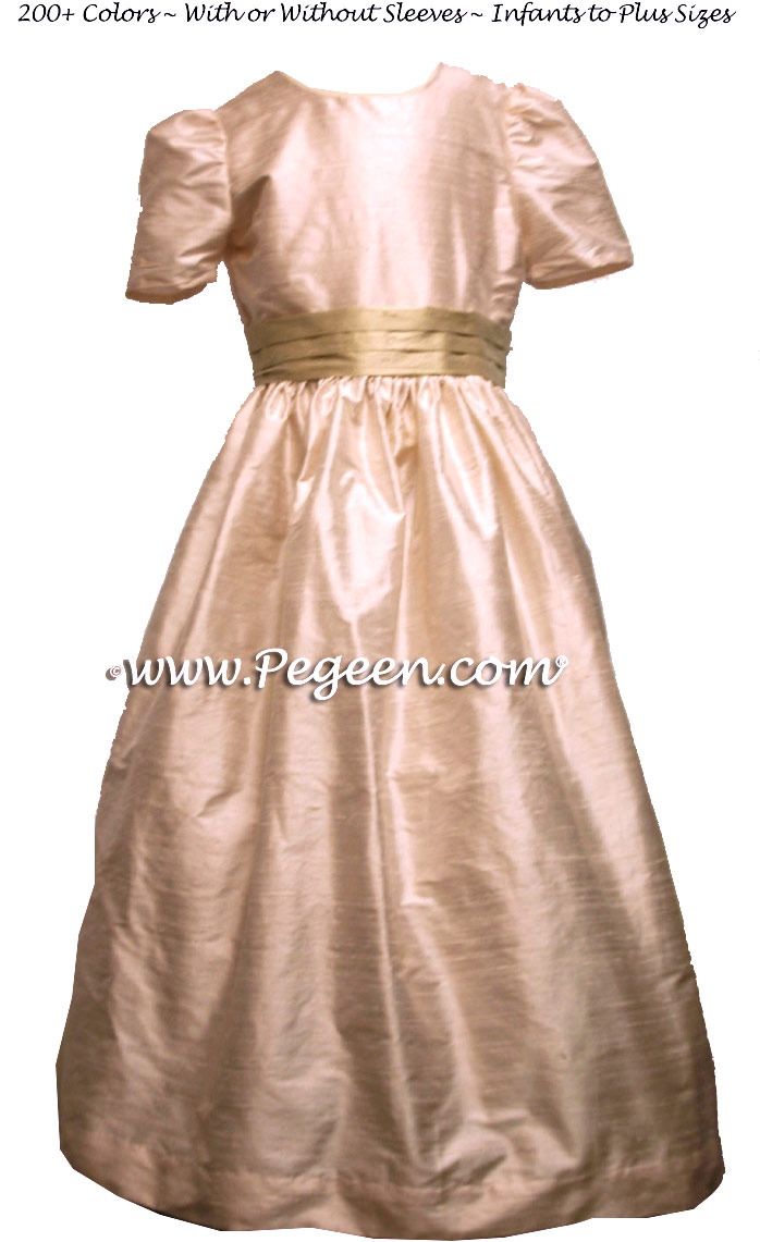 Blush Pink and Summer Tan Sash Silk flower girl dresses for your flower girl