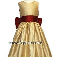 Spun Gold and CRANBERRY Silk  flower girl dresses