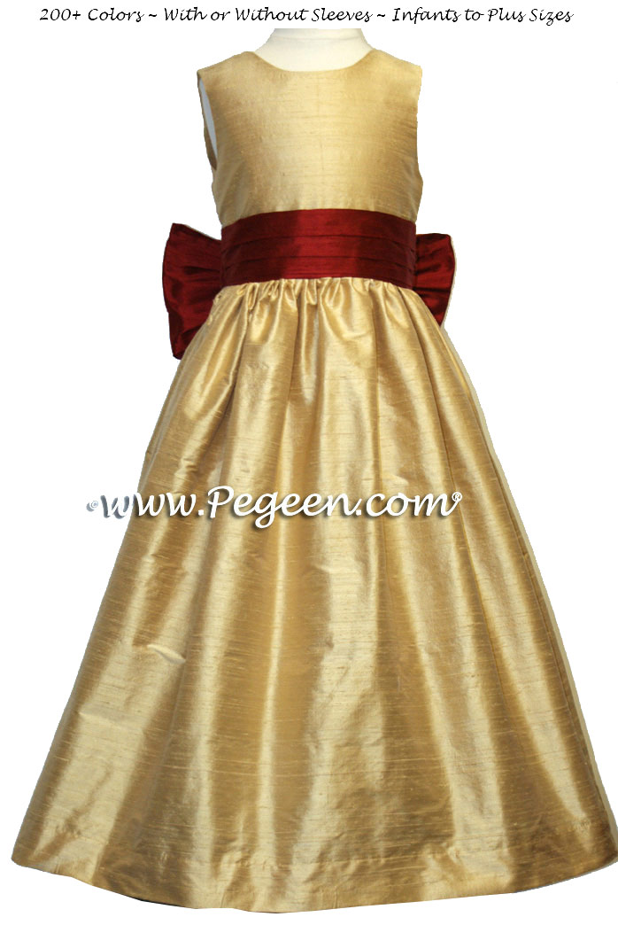 Spun Gold and Cranberry flower girl dress in silk