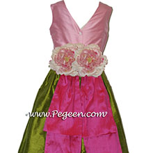 GRASS GREEN BUBBLEGUM PINK AND SHOCKING PINK flower girl dresses