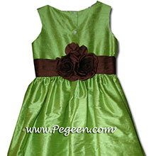 JASMINE GREEN AND CHOCOALTE BROWN flower girl dresses
