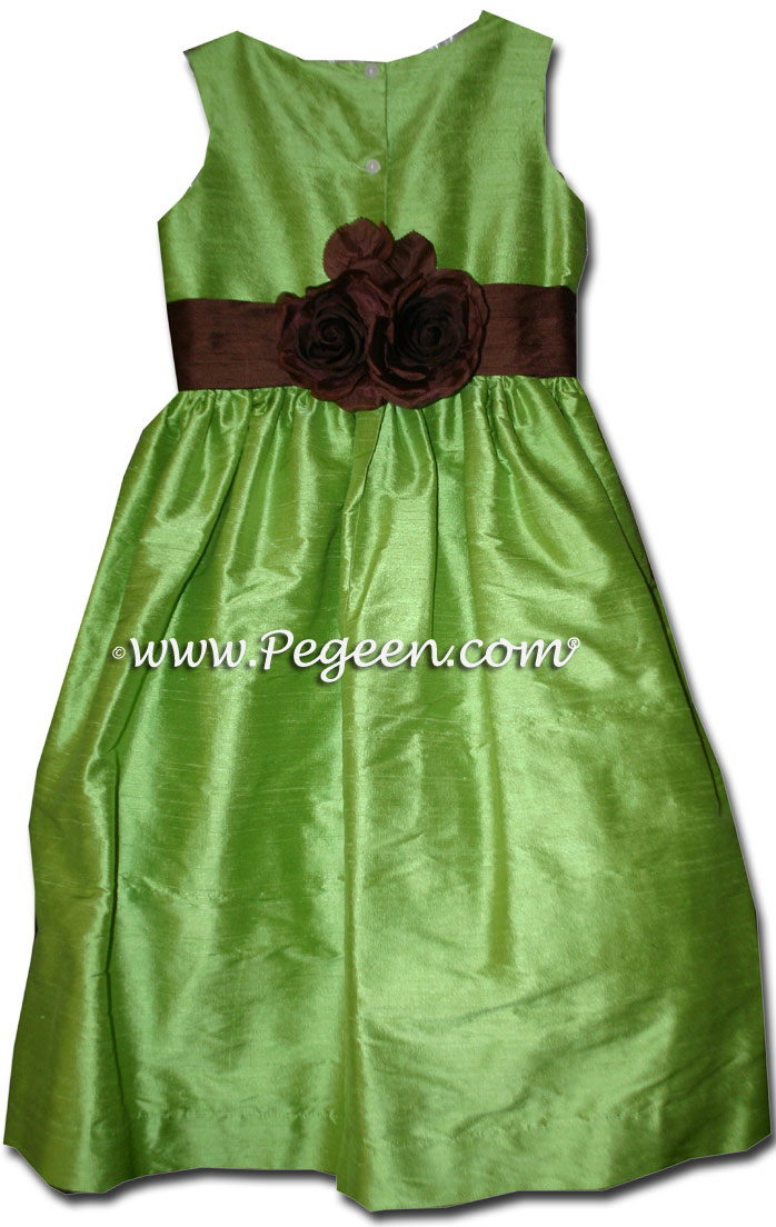 Chocolate brown and apple green flower girl dresses style 383