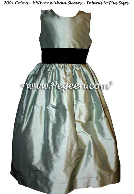 Celedon green silk flower girl dresses