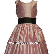 LOTUS PINK and  CHOCOLATE BROWN flower girl dresses