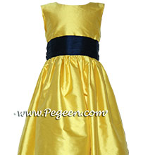 SAFFRON YELLOW AND DEEP PURPLE flower girl dresses