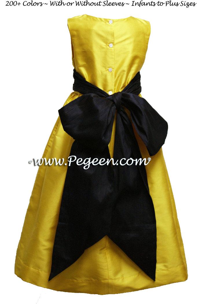 Flower Girl Dress in Saffron, Midnight Style 398 | Pegeen