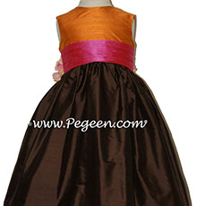 ORANGE, PINK AND CHOCOLATE Flower Girl Dresses