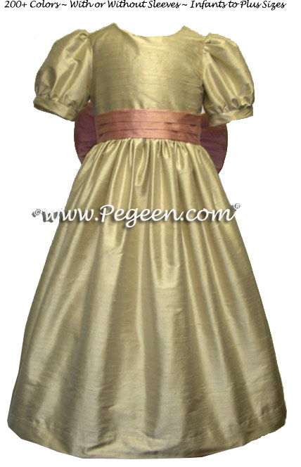 lower Girl Dresses in Summer Tan and Rum Pink with Sash | Pegeen