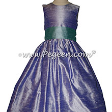 Adriatic aqua and Lilac silk Flower Girl Dresses by Pegeen