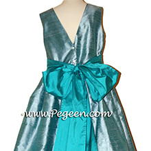 Adriatic aqua and peacock teal silk Flower Girl Dresses by Pegeen