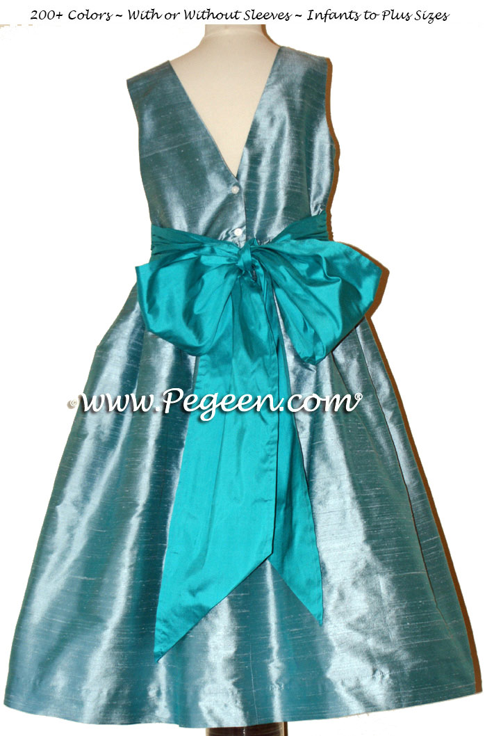 Adriatic aqua and Oceanic Blue SILK FLOWER GIRL DRESSES