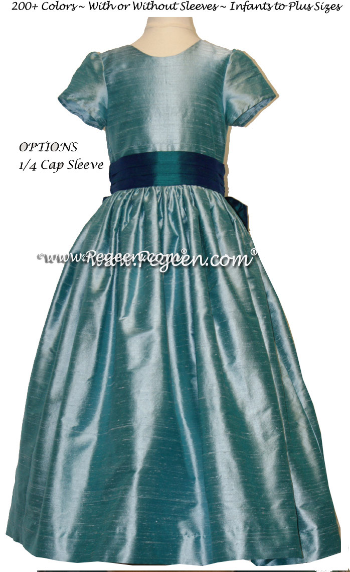 AAdriatic aqua and peacock teal SILK FLOWER GIRL DRESSES