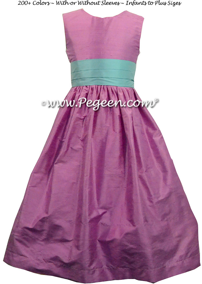 Bahama Breeze and Amethyst Silk flower girl dress style 398