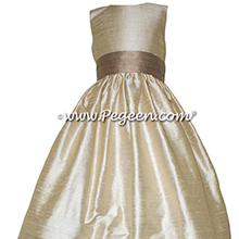 Toffee (light creme) and Antiqua Taupe Flower Girl Dresses Style 398