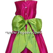 APPLE GREEN and  BOING (RASPBERRY) CUSTOM FLOWER GIRL DRESSES