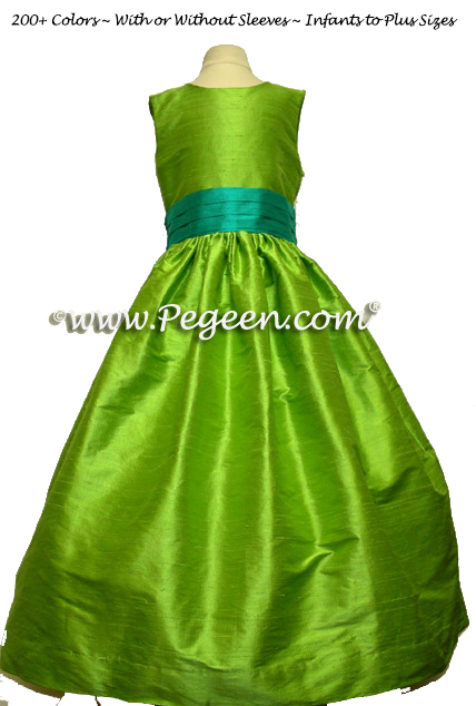 apple green and bermuda blue FLOWER GIRL DRESSES