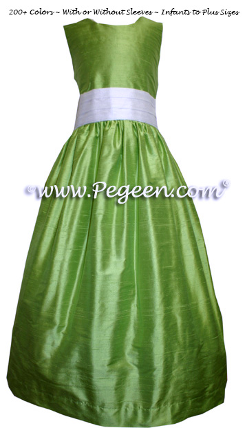 CUSTOM Apple Green Silk FLOWER GIRL DRESSES